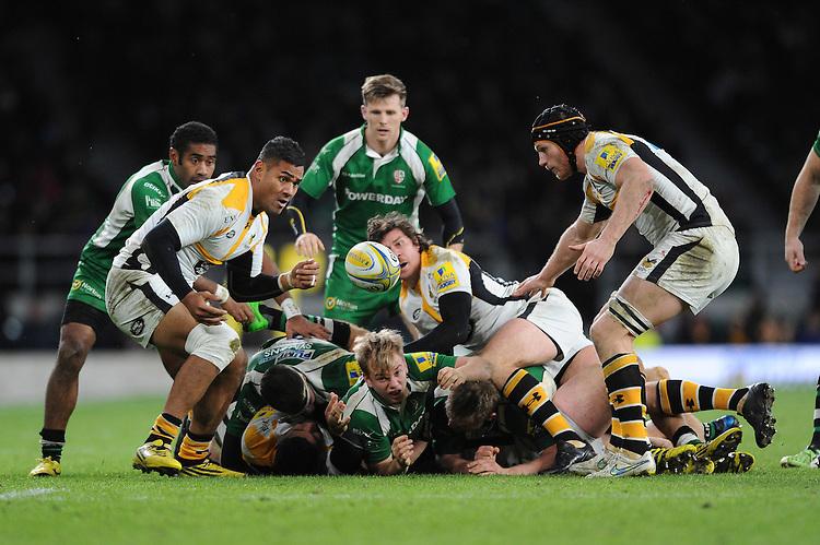 Frank Halai of Wasps picks up a loose ball during the Premiership Rugby match between London Irish and Wasps - 28/11/2015 - Twickenham Stadium, London<br /> Mandatory Credit: Rob Munro/Stewart Communications