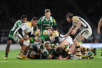 Frank Halai of Wasps picks up a loose ball during the Premiership Rugby match between London Irish and Wasps - 28/11/2015 - Twickenham Stadium, London<br /> Mandatory Credit: Rob Munro/Stewart Communications