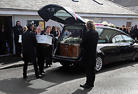 """COPY BY TOM BEDFORD<br />Pictured: Paul Black carries the white coffin of his daughter Pearl after the service out of the Jerusalem Baptist Chapel in Merthyr Tydfil, Wales, UK. Friday 18 August 2017<br />Re: The funeral of a toddler who died after a parked Range Rover's brakes failed and it hit a garden wall which fell on top of her will be held today at Jerusalem Baptist Chapel in Merthyr Tydfil.<br />One year old Pearl Melody Black and her eight-month-old brother were taken to hospital after the incident in south Wales.<br />Pearl's family, father Paul who is The Voice contestant and mum Gemma have said she was """"as bright as the stars""""."""
