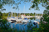 Sailboats in harbor, Pocasset, Cape Cod, MA