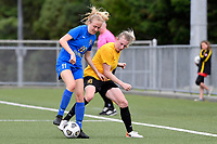 Molly Woodhead of Capital competes for the ball with Emily Morison of Southern during the Handa Women's Premiership - Capital Football v Southern United at Petone Memorial Park, Wellington on Saturday 7 November 2020.<br /> Copyright photo: Masanori Udagawa /  www.photosport.nz