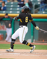 Eric Young Jr. (8) of the Salt Lake Bees follows through on his swing against the Fresno Grizzlies during the Pacific Coast League game at Smith's Ballpark on April 17, 2017 in Salt Lake City, Utah. The Bees defeated the Grizzlies 6-2. (Stephen Smith/Four Seam Images)