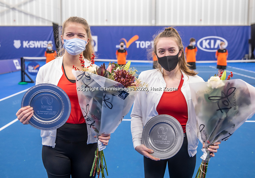 Amstelveen, Netherlands, 12  December, 2020, National Tennis Center, NTC, NKR, National   Indoor Wheelchair Tennis Championships, Junior doubles Final : Jinte Bos (NED) (R) and Lizzy de Greef (NED)<br /> <br /> Photo: Henk Koster/tennisimages.com
