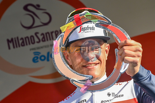 Jasper Stuyven (BEL) Trek-Segafredo wins the 112th edition of Milan-San Remo 2021, running 299km from Milan to San Remo, Italy. 20th March 2021.<br /> Photo: LaPresse/Gian Mattia D'Alberto | Cyclefile<br /> <br /> All photos usage must carry mandatory copyright credit (© Cyclefile | LaPresse/Gian Mattia D'Alberto)