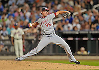 24 July 2012: Washington Nationals pitcher Tyler Clippard closes out a game against the New York Mets at Citi Field in Flushing, NY. The Nationals defeated the Mets 5-2 to take the second game of their 3-game series. Mandatory Credit: Ed Wolfstein Photo