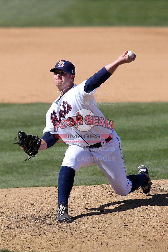 Binghamton Mets pitcher Josh Edgin #34 delivers a pitch during a game against the Akron Aeros at NYSEG Stadium on April 7, 2012 in Binghamton, New York.  Binghamton defeated Akron 2-1.  (Mike Janes/Four Seam Images)