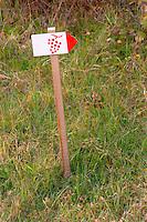 A sign indicating the vineyard walking path at Chateau Saint Cosme, Gigondas, Vaucluse, Rhone, Provence, France