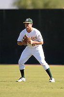 Oakland Athletics outfielder Jaycob Brugman (8) during an Instructional League game against the Chicago Cubs on October 16, 2013 at Papago Park Baseball Complex in Phoenix, Arizona.  (Mike Janes/Four Seam Images)