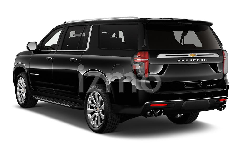 Rear three quarter view of a 2021 Chevrolet Suburban Premier 5 Door SUV
