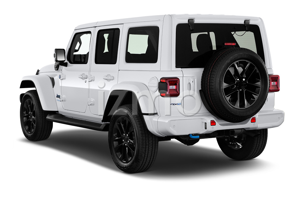 Car pictures of rear three quarter view of 2021 JEEP Wrangler-Unlimited High-Altitude-4XE 5 Door SUV Angular Rear