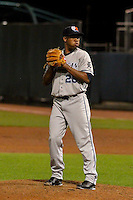 West Michigan Whitecaps pitcher Gerson Moreno (26) on the mound during game five of the Midwest League Championship Series against the Cedar Rapids Kernels on September 21st, 2015 at Perfect Game Field at Veterans Memorial Stadium in Cedar Rapids, Iowa.  West Michigan defeated Cedar Rapids 3-2 to win the Midwest League Championship. (Brad Krause/Four Seam Images)