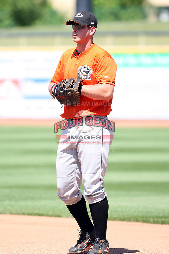 June 11th 2008:  Joe Mahoney of the Delmarva Shorebirds, Class-A affiliate of the Baltimore Orioles, during a game at Classic Park in Eastlake, OH.  Photo by:  Mike Janes/Four Seam Images