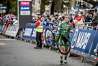 Lara Gillespi (IRE) was involved in a late crash in the Junior Women road race finish straight made lots of victims and was resposible for lots of (decompression) emotions & injury checkups once behind the line...<br /> <br /> from Doncaster to Harrogate (86km)<br /> 2019 Road World Championships Yorkshire (GBR)<br /> <br /> ©kramon