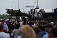Jun. 3, 2012; Englishtown, NJ, USA: NHRA unloading the car of funny car driver Bob Tasca III during the Supernationals at Raceway Park. Mandatory Credit: Mark J. Rebilas-