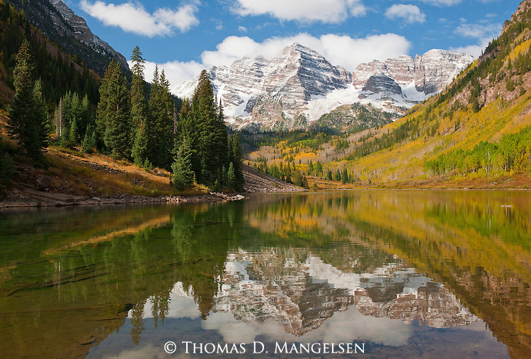 Autumn paints the leaves of the forest below the Maroon Bells; the beauty of the snowcapped peaks and fall color is amplified by their reflection in the pristine water of Maroon Lake in the Snowmass Wilderness Area in Colorado.