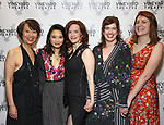 """Jeanne Sakata, Tiffany Villarin, Margot Bordelon, Megan Hill and Mara Nelson-Greenberg attending the Opening Night Afterparty for The Vineyard Theatre production of  """"Do You Feel Anger?"""" at the Vineyard Theatre on April 2, 2019 in New York City."""