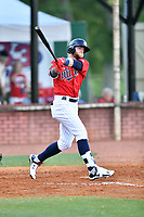 Elizabethton Twins left fielder Trey Cabbage (20) swings at a pitch during a game against the Pulaski Yankees at Joe O'Brien Field on June 27, 2016 in Elizabethton, Tennessee. The Yankees defeated the Twins 6-4. (Tony Farlow/Four Seam Images)