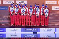 Artistic Swimming<br /> Highlights Routine Final<br /> Podium<br /> Bronze Medal<br /> BLR BELARUS<br /> BUTSEL Vera<br /> KIRYLIUK Marharyta<br /> KOUTSUN Hanna<br /> KUDZINA Yana<br /> KULIASHOVA Kseniya<br /> NAVASIOLAVA Anastasiya<br /> PUZ Valeryia<br /> SUVALAVA Anastasiya<br /> TRATSEUSKAYA Kseniya<br /> VYSOTSKAYA Aliaksandra<br /> XXXV LEN European Aquatic Championships<br /> Duna Arena<br /> Budapest  - Hungary  11/5/2021<br /> Photo Pasquale Francesco Mesiano / Deepbluemedia / Insidefoto