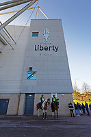 Mounted police officers outside the stadium prior to the Sky Bet Championship match between Swansea City and Cardiff City at the Liberty Stadium, Swansea, Wales, UK. Sunday 27 October 2019
