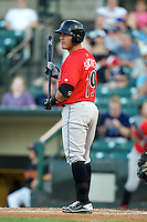 Indianapolis Indians catcher Tony Sanchez #19 during a game against the Empire State Yankees at Frontier Field on August 4, 2012 in Rochester, New York.  Empire State defeated Indianapolis 9-8 in ten innings.  (Mike Janes/Four Seam Images)