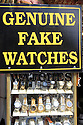Sign is a store window for Genuine Fake Watches