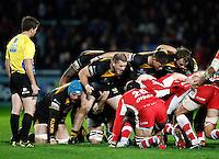 Photo: Richard Lane/Richard Lane Photography. Gloucester Rugby v London Wasps. Aviva Premiership. 02/11/2013 Wasps ecru. Front row (lt to rt) Jake Cooper-Woolley, Tom Lindsay and Matt Mullan.