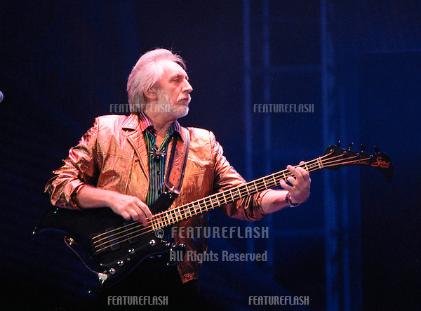 """29OCT99: Rock supergroup THE WHO's JOHN ENTWHISTLE on stage at the MGM Grand, Las Vegas, for their reunion concert staged by new internet company Pixelon.com as part of their """"iBash99"""".                               .© Paul Smith / Featureflash"""