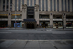 Empty streets and sidewalks are seen around Rockefeller Center in New York, U.S., on Thursday, March 19, 2020. New York state Governor Andrew Cuomo on Thursday ordered businesses to keep 75% of their workforce home as the number of coronavirus cases rises rapidly. Photograph by Michael Nagle/Redux