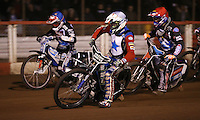 Heat 2: Kelvin Tatum (white), Adam Ellis (red) and Ashley Birks (blue) - Lakeside Hammers v Rico's All Stars, The Rico Spring Classic at the Arena Essex Raceway, Pufleet - 20/03/15 - MANDATORY CREDIT: Rob Newell/TGSPHOTO - Self billing applies where appropriate - 0845 094 6026 - contact@tgsphoto.co.uk - NO UNPAID USE