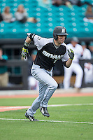 Robby Rinn (25) of the Bryant Bulldogs hustles down the first base line against the Coastal Carolina Chanticleers at Springs Brooks Stadium on March 13, 2015 in Charlotte, North Carolina.  The Chanticleers defeated the Bulldogs 7-2.  (Brian Westerholt/Four Seam Images)