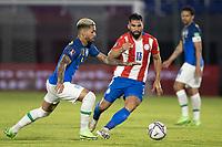 08th June 2021; Defensores del Chaco Stadium, Asuncion, Paraguay; World Cup football 2022 qualifiers; Paraguay versus Brazil;   Alberto Espínola of Paraguay and Douglas Luiz of Brazil