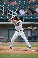 Damek Tomscha (27) of the Birmingham Barons at bat against the Pensacola Blue Wahoos at Regions Field on July 7, 2019 in Birmingham, Alabama. The Barons defeated the Blue Wahoos 6-5 in 10 innings. (Brian Westerholt/Four Seam Images)