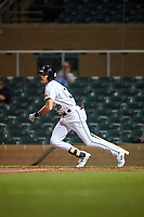 Salt River Rafters pinch hitter Josh Lowe (36), of the Tampa Bay Rays organization, singles on a line drive to left field during an Arizona Fall League game against the Mesa Solar Sox on September 19, 2019 at Salt River Fields at Talking Stick in Scottsdale, Arizona. Salt River defeated Mesa 4-1. (Zachary Lucy/Four Seam Images)