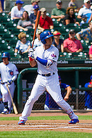 Iowa Cubs outfielder Albert Almora Jr. (6) at bat during a game against the Colorado Springs Sky Sox on September 4, 2016 at Principal Park in Des Moines, Iowa. Iowa defeated Colorado Springs 5-1. (Brad Krause/Four Seam Images)