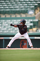 GCL Orioles center fielder Markel Jones (30) squares around to bunt during the first game of a doubleheader against the GCL Twins on August 1, 2018 at CenturyLink Sports Complex Fields in Fort Myers, Florida.  GCL Twins defeated GCL Orioles 7-6 in the completion of a suspended game originally started on July 31st, 2018.  (Mike Janes/Four Seam Images)