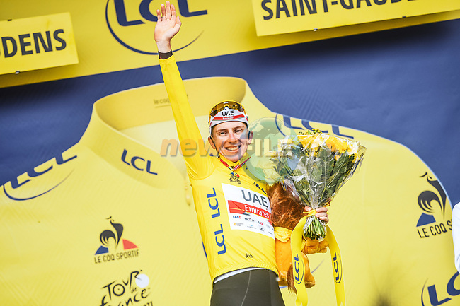 Race leader Tadej Pogacar (SLO) UAE Team Emirates retains the Yellow Jersey at the end of Stage 16 of the 2021 Tour de France, running 169km from Pas de la Case to Saint-Gaudens, Andorra. 13th July 2021.  <br /> Picture: A.S.O./Charly Lopez | Cyclefile<br /> <br /> All photos usage must carry mandatory copyright credit (© Cyclefile | A.S.O./Charly Lopez)