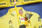 Race leader Tadej Pogacar (SLO) UAE Team Emirates retains the Yellow Jersey at the end of Stage 16 of the 2021 Tour de France, running 169km from Pas de la Case to Saint-Gaudens, Andorra. 13th July 2021.  <br /> Picture: A.S.O./Charly Lopez   Cyclefile<br /> <br /> All photos usage must carry mandatory copyright credit (© Cyclefile   A.S.O./Charly Lopez)