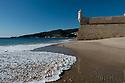 Exterior of the Fortaleza de Santiago, from the Praia da California, Sesimbra, Portugal.
