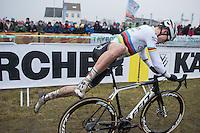 Wout Van Aert (BEL/Crelan-Willems) jumping on a fresh bike in the pit zone<br /> <br /> elite men's race<br /> CX Superprestige Noordzeecross <br /> Middelkerke / Belgium 2017