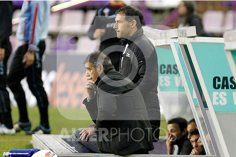 Celta de Vigo's  coach Francisco Herrera (l) and his Second Angel Rodriguez during Spanish 2th Division match.March 3,2012. (ALTERPHOTOS/Acero)