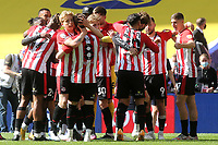 Brentford players celebrate at the final whistle as they win promotion to the Premier League during Brentford vs Swansea City, Sky Bet EFL Championship Play-Off Final Football at Wembley Stadium on 29th May 2021