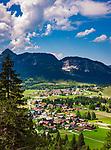 Oesterreich, Tirol, Tannheimer Tal: Blick ueber die Ortschaften Haldensee und Graen bis zum Rappenschrofen | Austria, Tyrol, Tannheim Valley: view across villages Haldensee and Graen towards summit Rappenschrofen