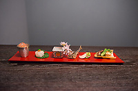 Japan, Kyoto. Hoshinoya, a resort. Appetizers.