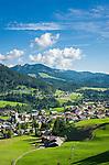 Austria, Vorarlberg, Kleinwalsertal, Riezlern: with parish church Virgin Mary Sacrifice   Oesterreich, Vorarlberg, Kleinwalsertal, Riezlern: Dorf mit Pfarrkirche Mariae Opferung