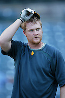 Dan Johnson of the Oakland Athletics during batting practice before a game from the 2007 season at Angel Stadium in Anaheim, California. (Larry Goren/Four Seam Images)