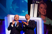 Denver, Colorado<br /> August 27, 2008<br /> <br /> Democratic Vice President nominee Joe Biden is joined on stage by his wife Jill and the Democratic Vice Presidential nominee Barack Obama after speaking at the Pepsi Center  - Democratic National Convention.