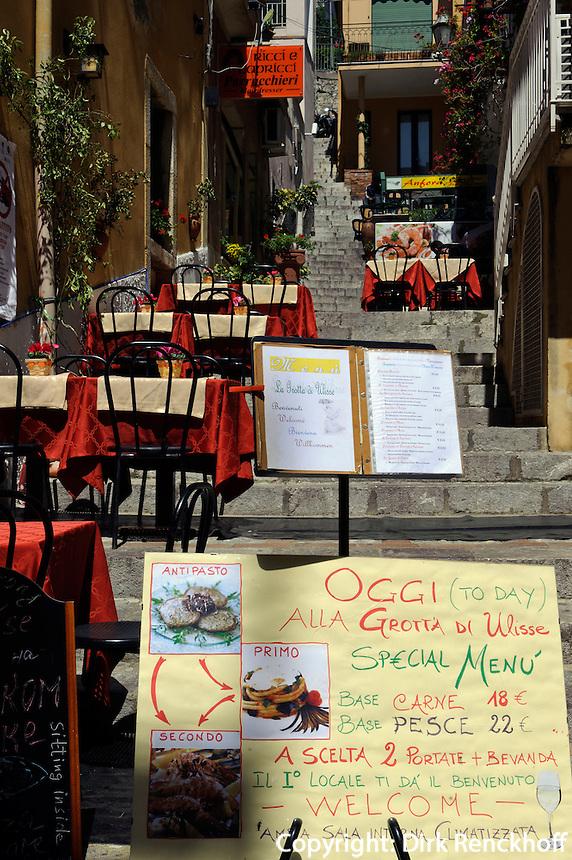 Restaurant in Taormina, Sizilien, Italien