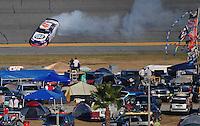 Feb 7, 2009; Daytona Beach, FL, USA; ARCA RE/MAX Series driver Peyton Sellers spins during the Lucas Oil Slick Mist 200 at Daytona International Speedway. Mandatory Credit: Mark J. Rebilas-