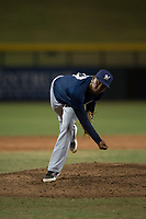AZL Brewers relief pitcher Johan Dominguez (47) follows through on his delivery during an Arizona League game against the AZL Cubs 1 at Sloan Park on June 29, 2018 in Mesa, Arizona. The AZL Cubs 1 defeated the AZL Brewers 7-1. (Zachary Lucy/Four Seam Images)