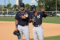 FCL Yankees Nelson Gomez (left) and Alexander Vargas (right) before a game against the FCL Tigers West on July 31, 2021 at Tigertown in Lakeland, Florida.  (Mike Janes/Four Seam Images)